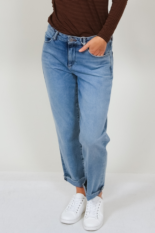 FJELLAA CROPPED Denims / 5 Pockets Straight Solid mid blue