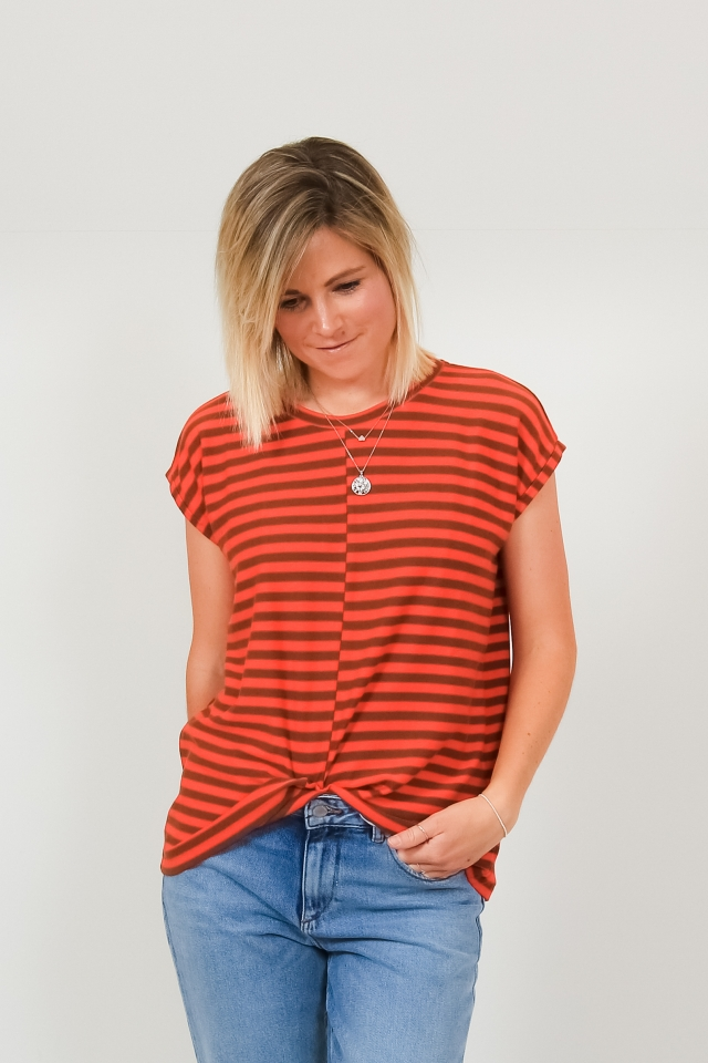 JAARIN KNITTED STRIPE Shirts T-Shirt Yarn Dyed Stripe glossy orange-cacao