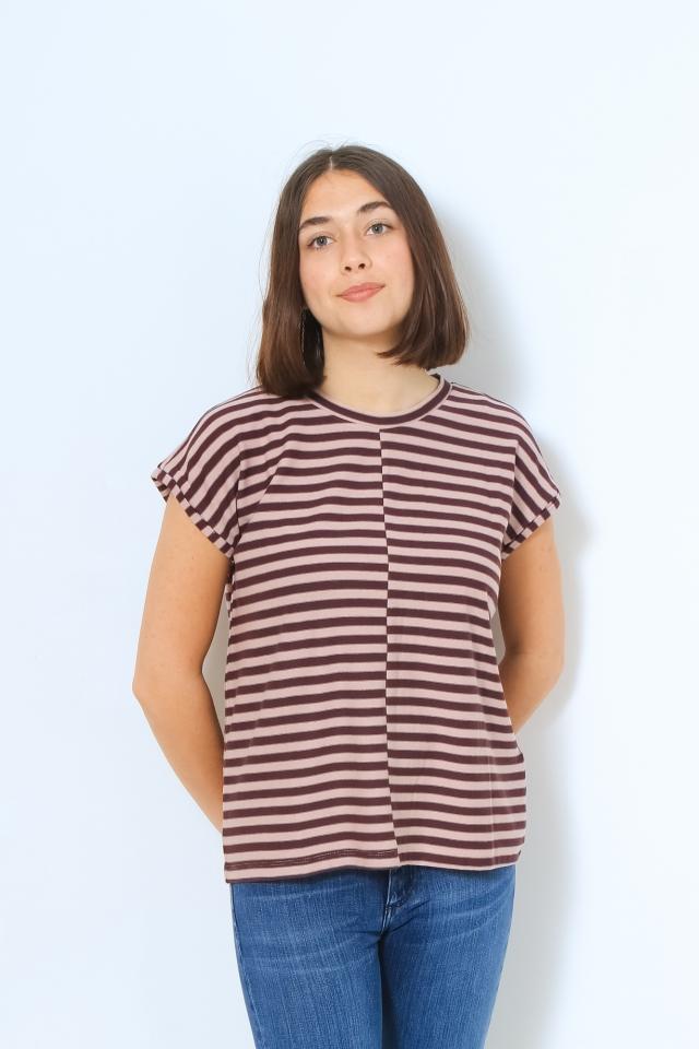 JAARIN KNITTED STRIPE Shirts T-Shirt Yarn Dyed Stripe aubergine-kinoko