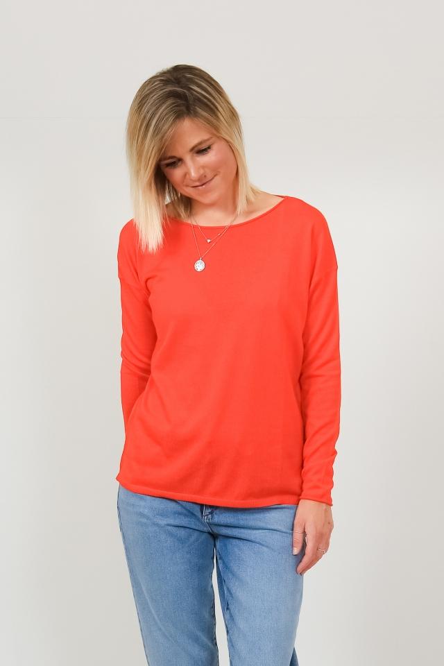 LADAA Strick Pullover Solid glossy orange