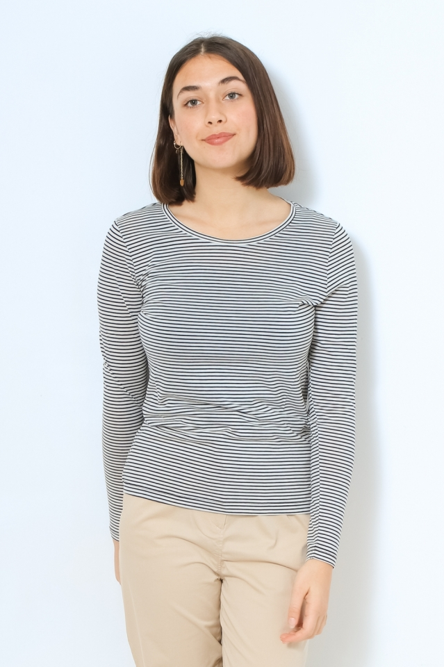 LARENAA SMALL STRIPES Shirts Longsleeve Yarn Dyed Stripe black-oatmilk