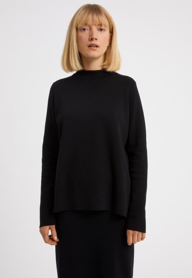SELDAA Strick Pullover Solid black