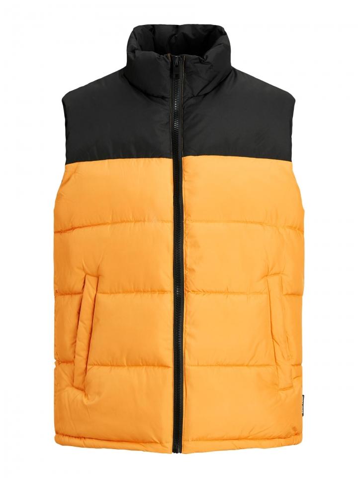 JJPAUL BODYWARMER COLLAR Golden Orange/BLOCKING