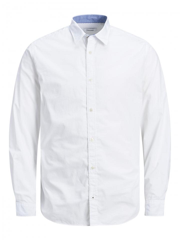 JJEPLAIN AOP SHIRT L/S White/SLIM