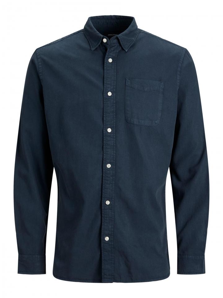 JJEWASHED TENCEL SHIRT L/S Navy Blazer/Jacquard
