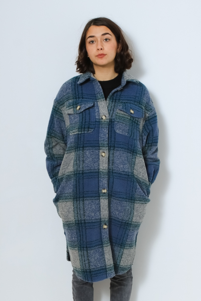 ONLDIDI DEENA-OMA LONG L/S CHECK SH Faded Denim/GREEN+BLUE