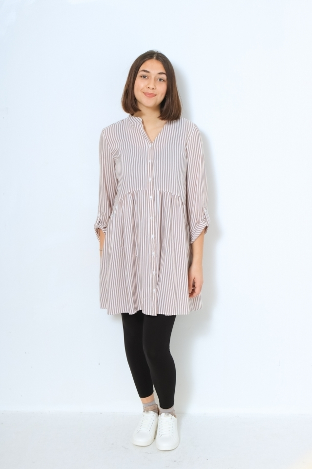ONLDITTE LIFE STRIPE 3/4 DRESS NOO Cloud Dancer/TORTOISE SHELL STRIPES