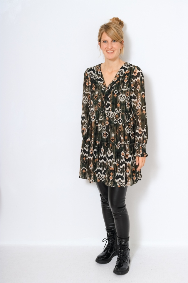 ONLELOISE L/S SHORT DRESS WVN Kalamata/TRAIL IKAT