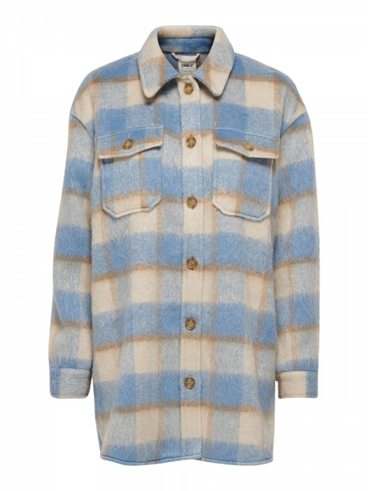 ONLEPIC L/S CHECK SHACKET CC PNT Oatmeal/w. toasted coconut/faded de