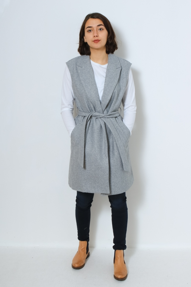 ONLFAME WRAP WAISTCOAT CC OTW Light Grey Melange/W. BLACK/BLUE/RE