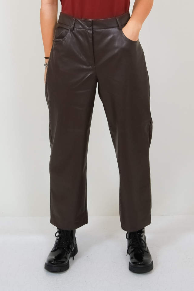 ONLGLORIA FAUX LEATHER ANCLE PANT O Mulch
