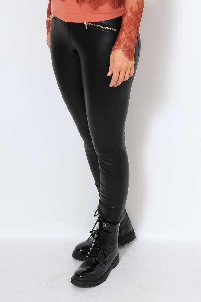 ONLHENRIETTA FAUX LEATHER PANT OTW Black