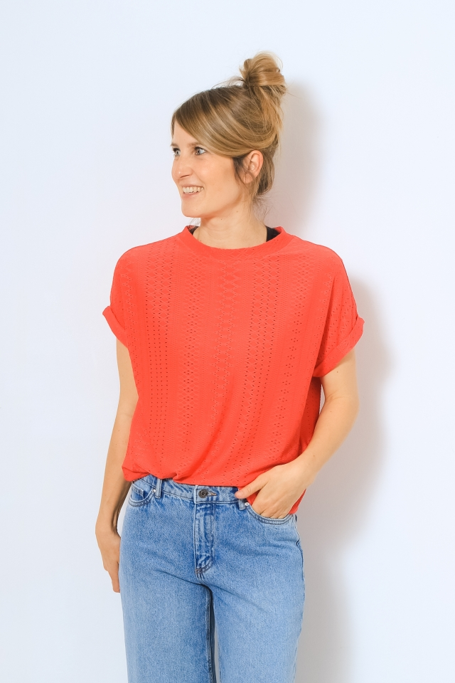 ONLIDA S/S O-NECK TOP JRS Cayenne