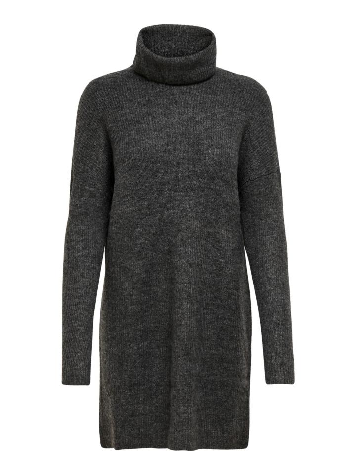 ONLJANA L/S COWLNCK DRESS WOOL KNT Dark Grey Melange