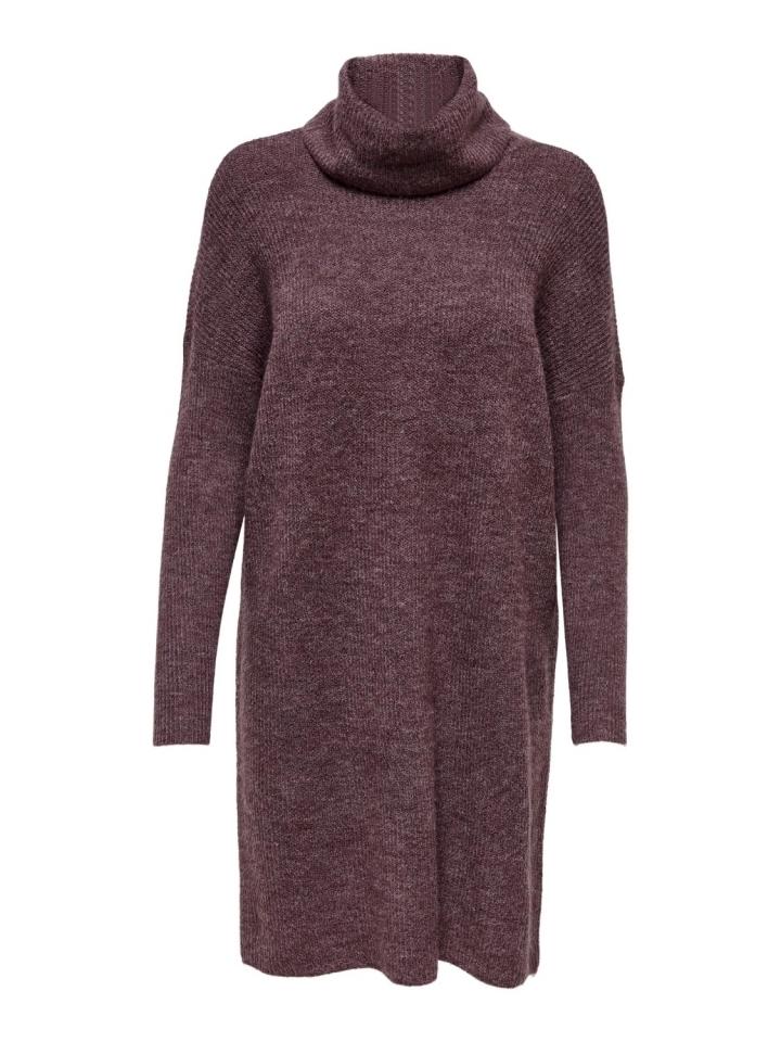 ONLJANA L/S COWLNCK DRESS WOOL KNT Rose Brown/W. MELANGE
