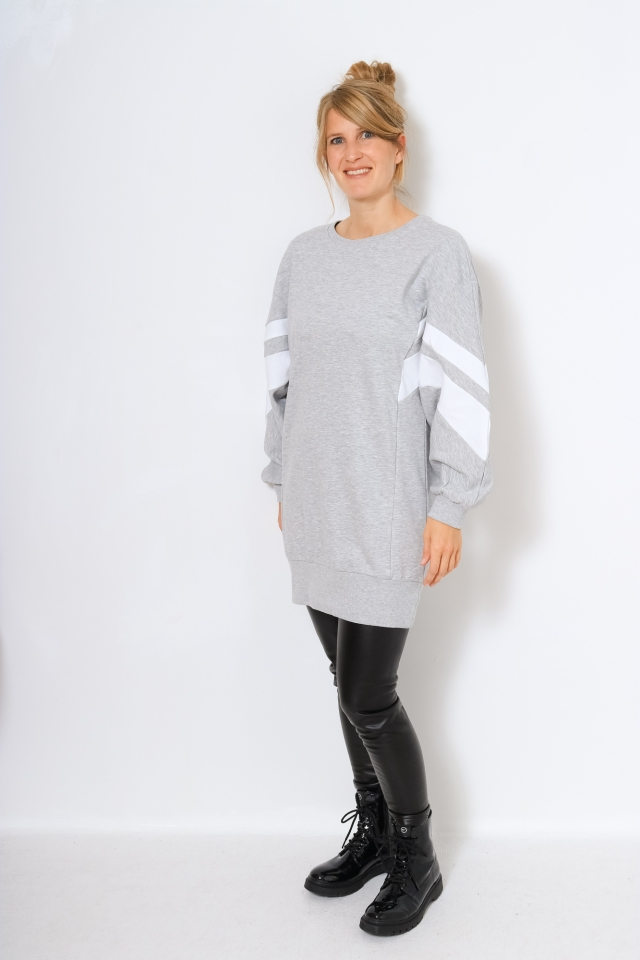 ONLJOSSA L/S SPORTY SWEAT DRESS Light Grey Melange
