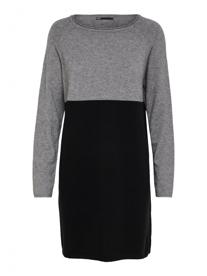 ONLLILLO L/S DRESS KNT NOOS Medium Grey Melange/W. BLACK