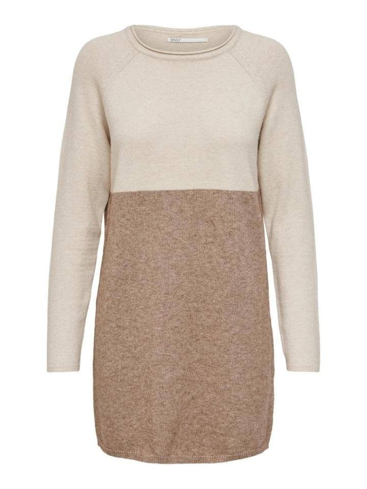 ONLLILLO L/S DRESS KNT NOOS Whitecap Gray/W. BEIGE MELANGE