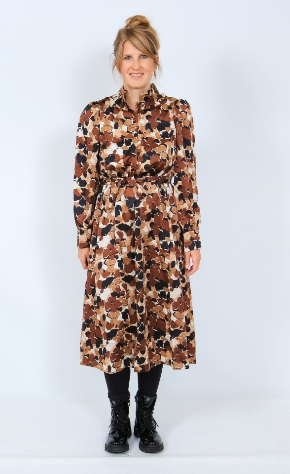 ONLLOLA L/S CALF DRESS WVN Sand/BIG FLOWERS