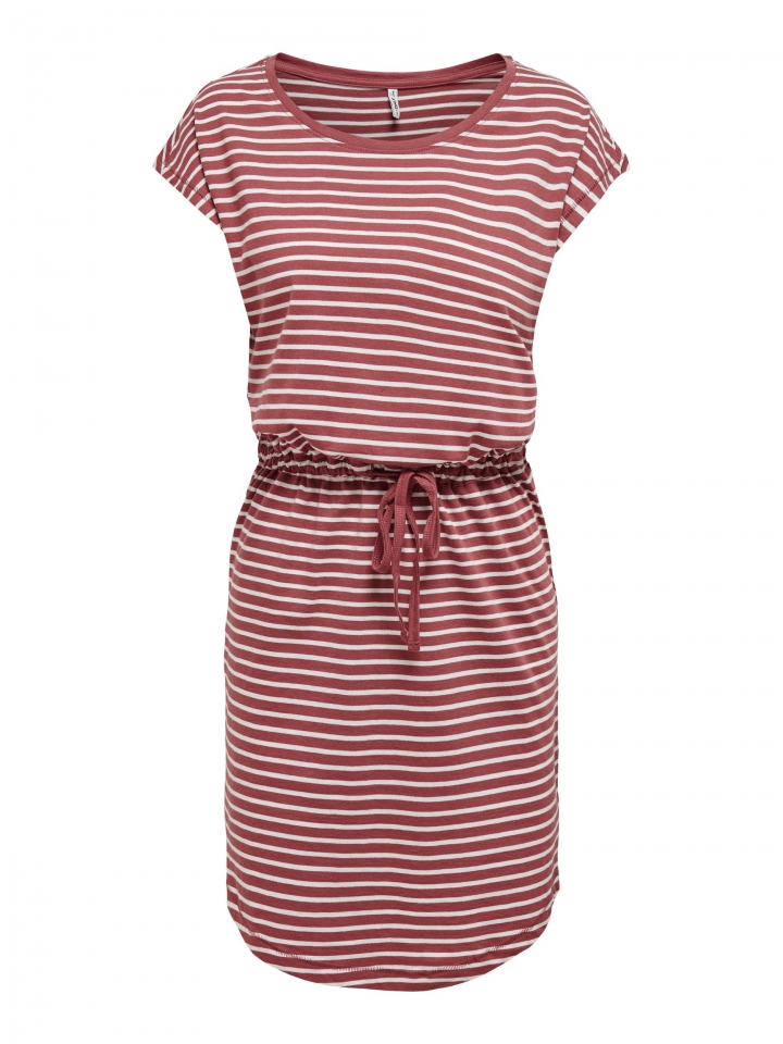 ONLY ONLMAY LIFE S/S DRESS NOOS Apple Butter/THIN STRIPE CLOUD DANC