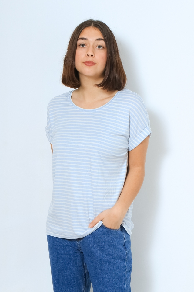 ONLY ONLMOSTER STRIPE S/S O-NECK TOP JRS Halogen Blue/CLOUD DANCER