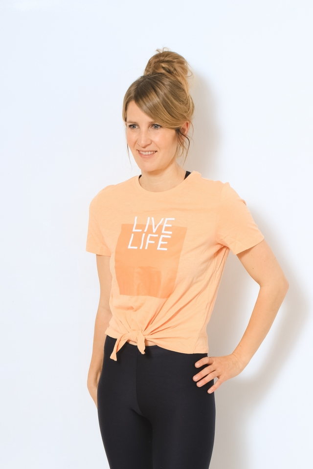ONLSILLY LIFE S/S KNOT TOP BOX JRS Coral Sands/LIVE