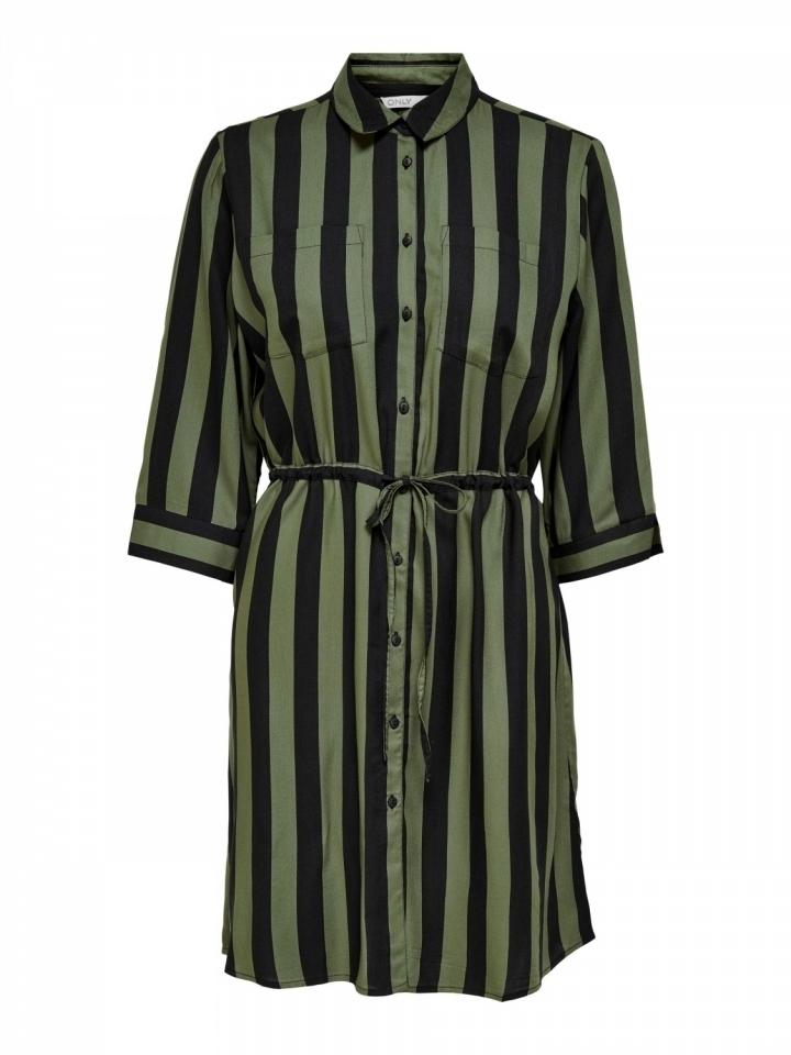 ONLTAMARI 3/4 SHIRT DRESS WVN NOOS Beetle/BLACK STRIPES