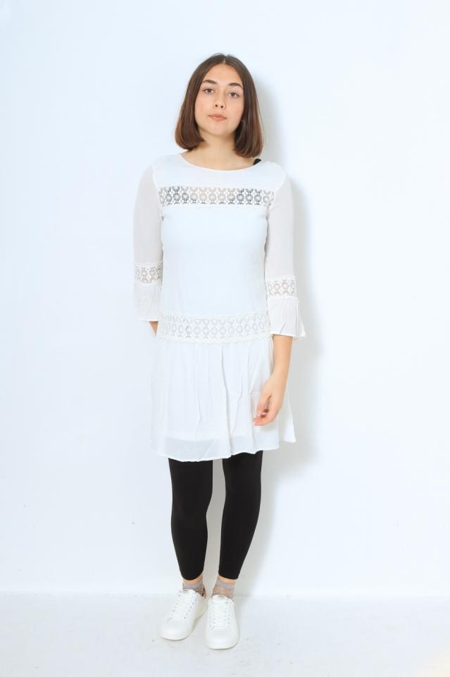 ONLTYRA 3/4 FLARE SHORT DRESS WVN N Cloud Dancer