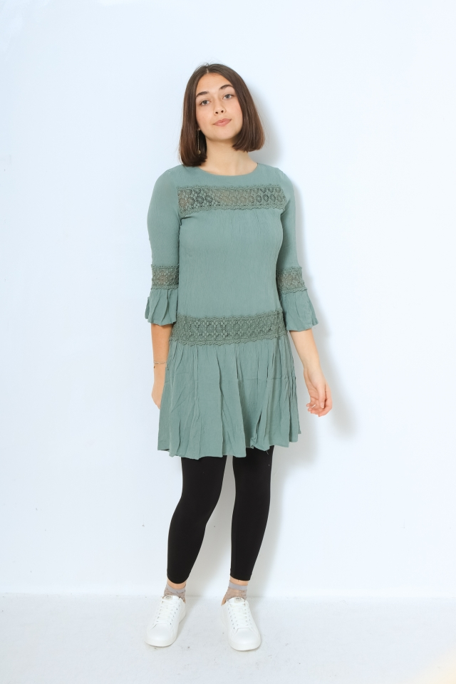 ONLY ONLTYRA 3/4 LIFE SHORT DRESS WVN NO Chinois Green