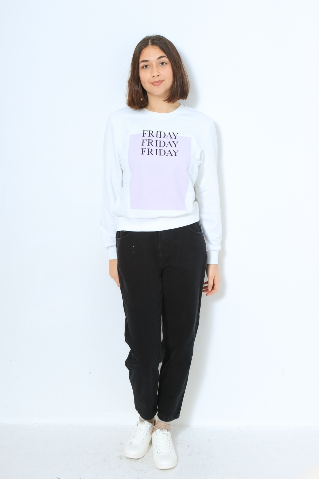 ONLWEEKDAY LIFE REG L/S O-NECK SWT Bright White/FLOOR