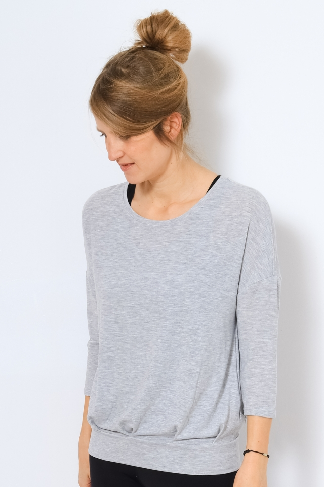 ONYFAVE LIFE L/S O-NECK OVERSIZED S Light Grey Melange