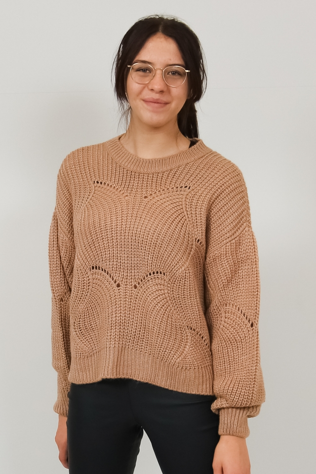 PCBENITA LS O-NECK KNIT Natural
