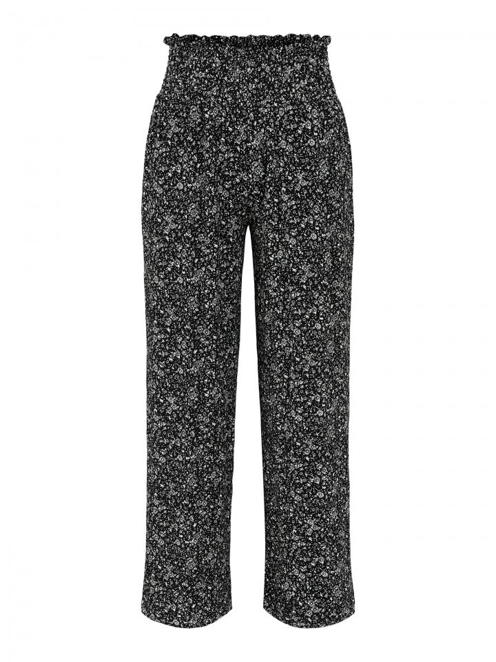 PCCURLI HW CROPPED PANTS Black/BIG FLOWER