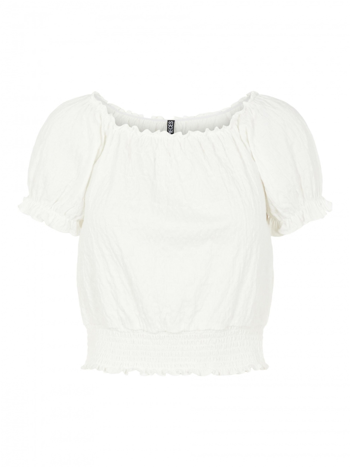 PCLEAF SS CROPPED SMOCK TOP BC Cloud Dancer
