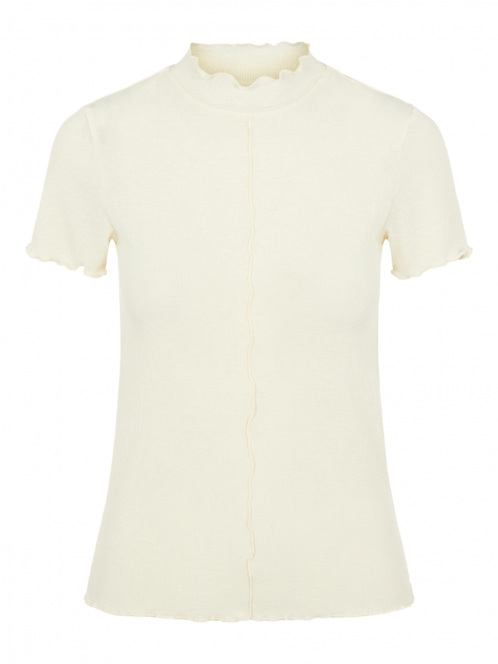 PCLOANA SS T NECK TEE BC Almond Oil
