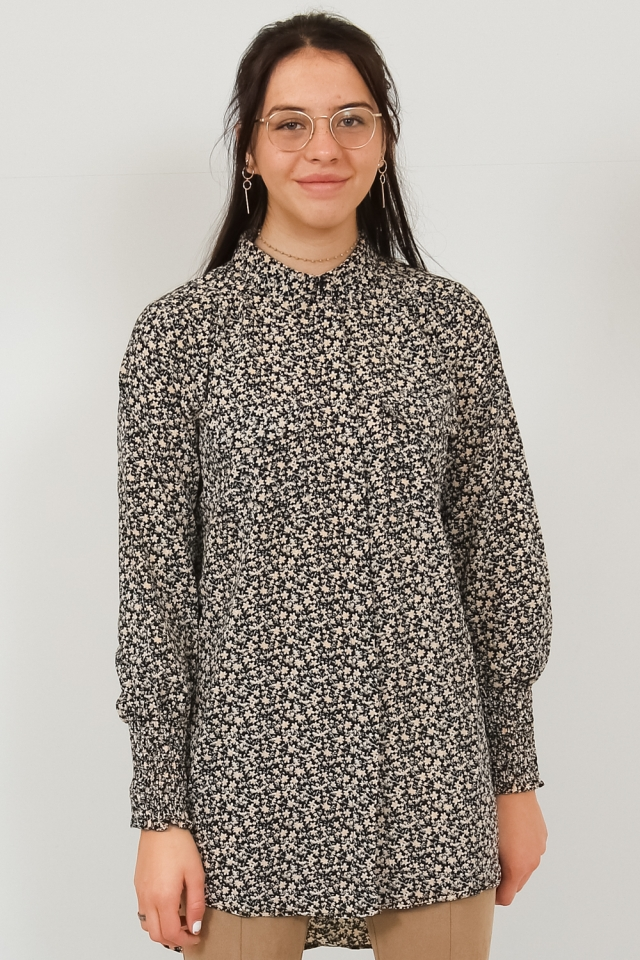 PCSAPRIL LS LONG SHIRT BF Black/BIG FLOWER