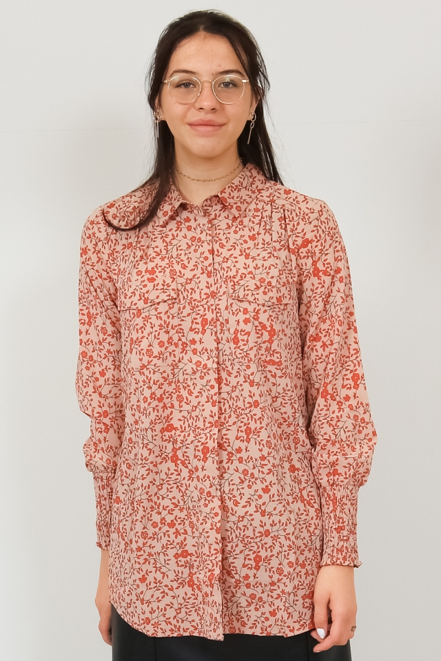 PCSAPRIL LS LONG SHIRT BF Natural/AUTUMN FLOWERS
