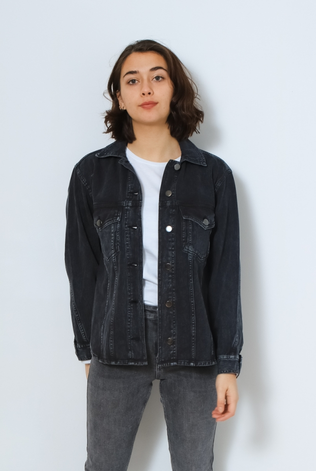 VMAMAI LS OVERSIZE SHIRT JACKET KI Dark Grey Denim