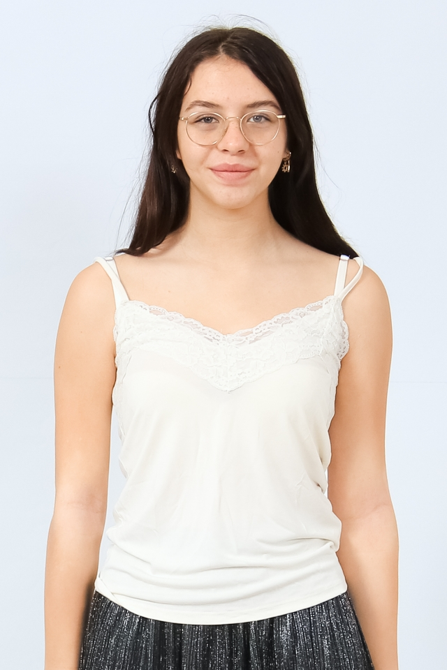 VMBIA SINGLET LACE TOP JRS BF Birch