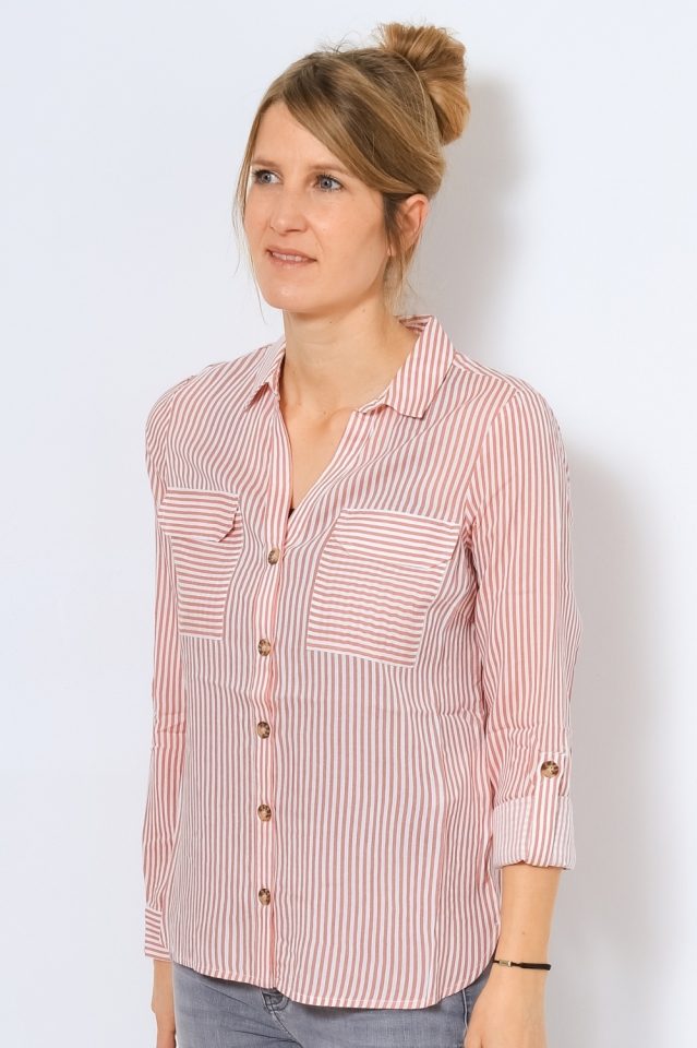 VMBUMPY L/S SHIRT COLOR Snow White/FIERY CORAL STRIPES