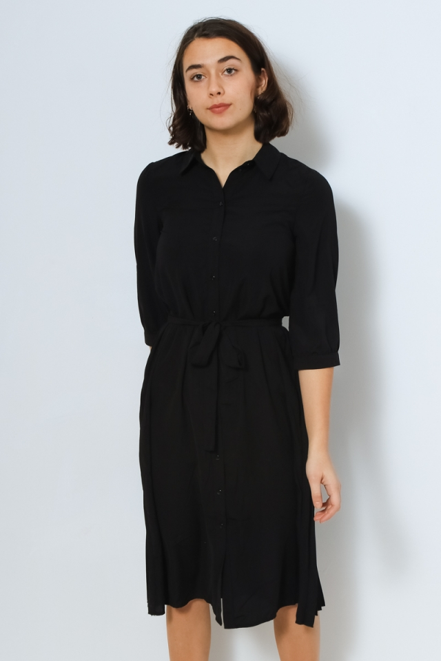 VMCARA 3/4 CALF SHIRT DRESS WVN Black