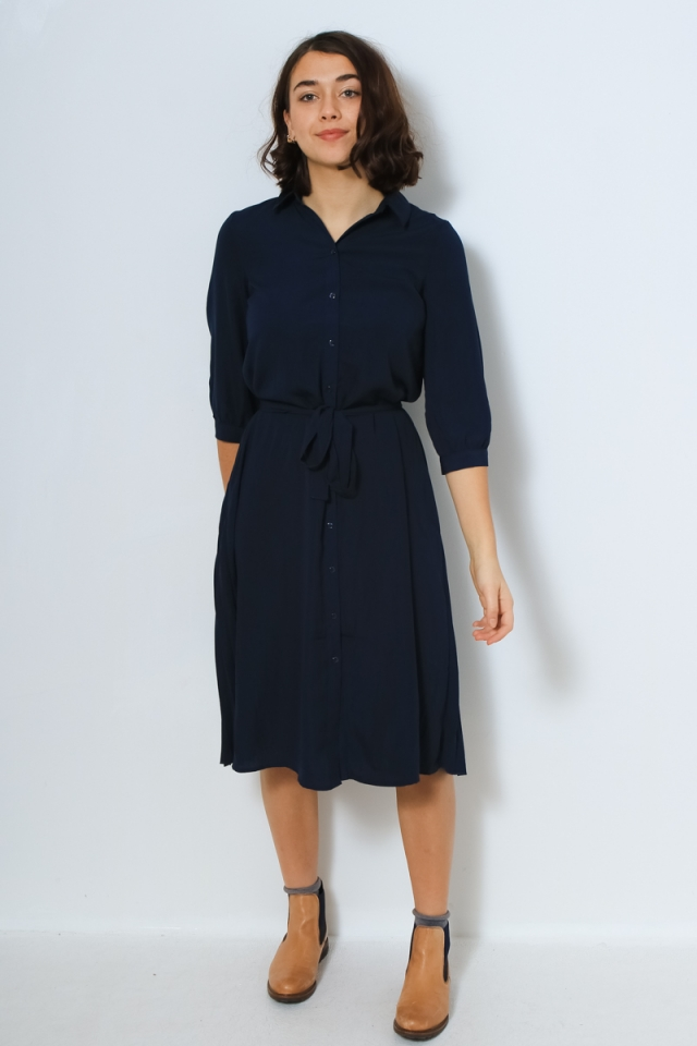 VMCARA 3/4 CALF SHIRT DRESS WVN Navy Blazer