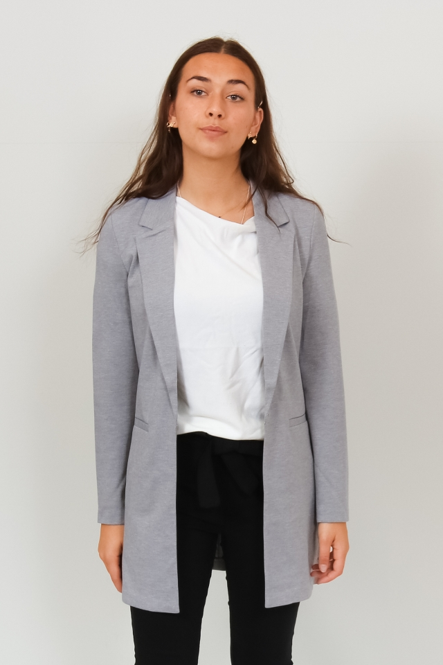 VMCHLOE LS LONG BLAZER BOO Light Grey Melange