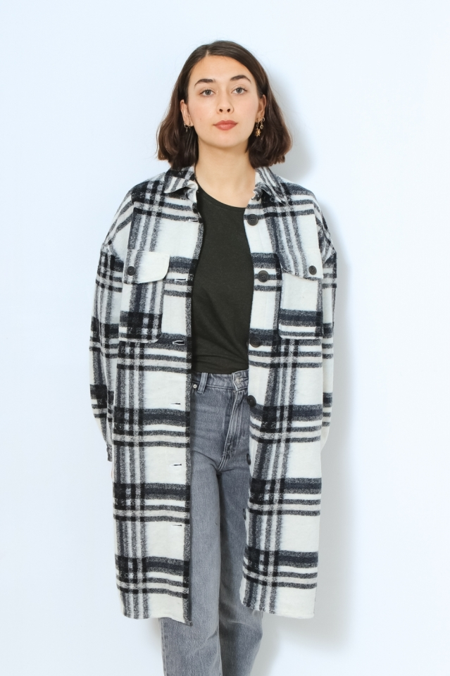 VMCHRISSIE LONG CHECK SHIRT GA Snow White/W BLACK / LGM
