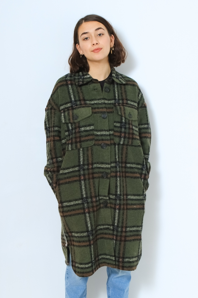VMCHRISSIE LONG CHECK SHIRT GA Black Forest/W SNOW WHITE / MADDER