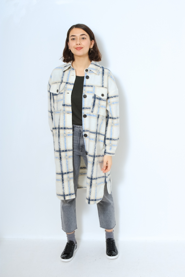 VMCHRISSIE LONG CHECK SHIRT GA Birch/PLACID BLUE STRIPES