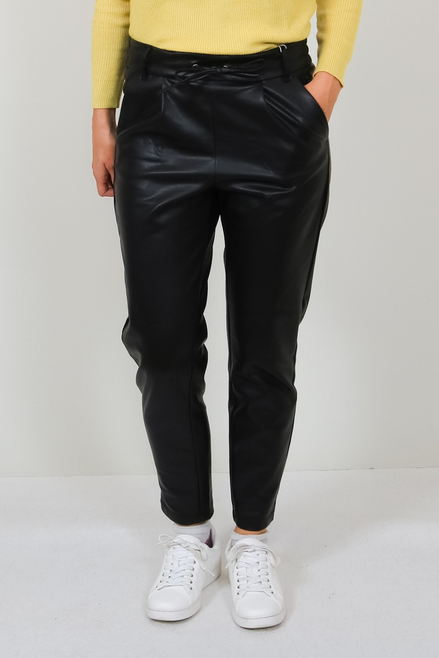 VMEVA MR LOOSE STRING COATED PANT N Black