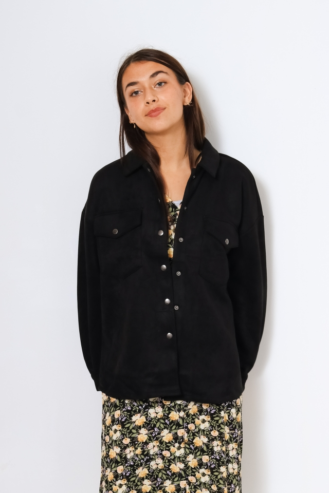 VMHELEN FAUX SUEDE LS WIDE SHIRT TL Black
