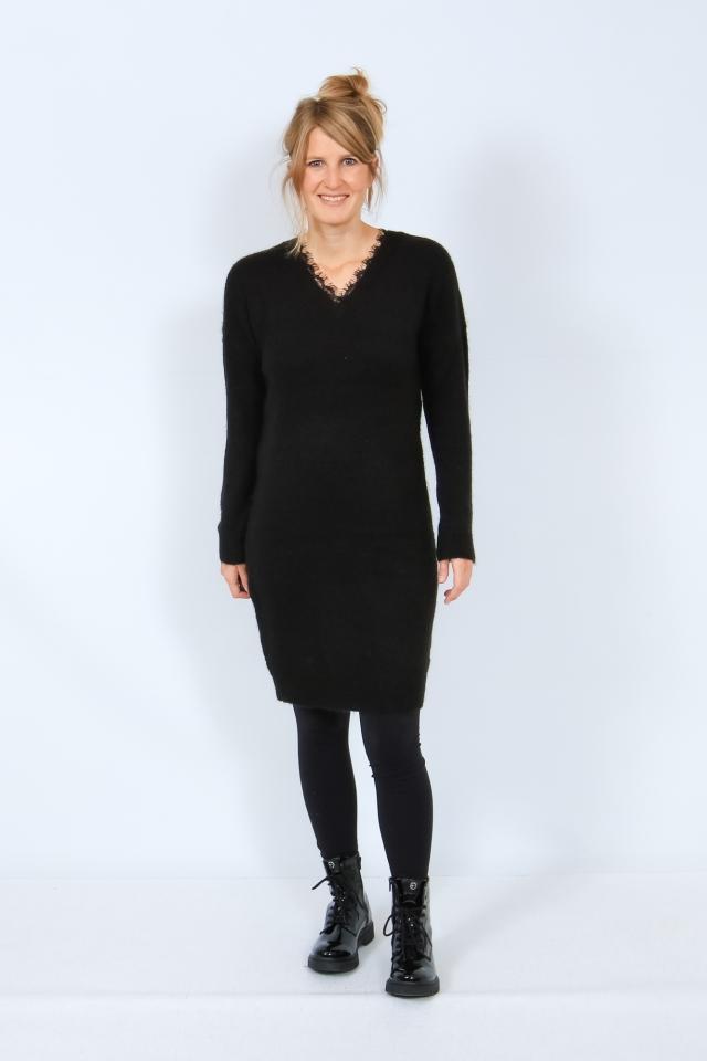 VMIVA LS V-NECK LACE DRESS COLOR Black