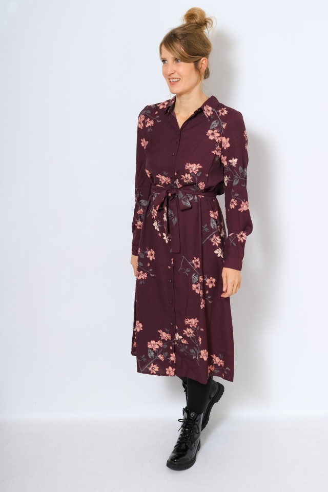 VMLALLIE L/S CALF SHIRT DRESS EXP G Plum Perfect/LALLIE AOP